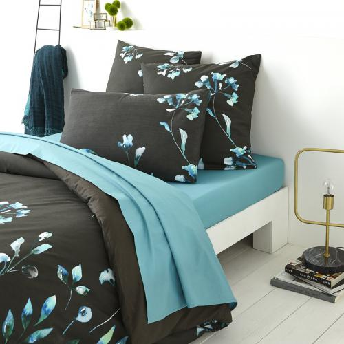 3S. x Collection - Drap plat percale coton AIKO - noir/bleu - Drap plat
