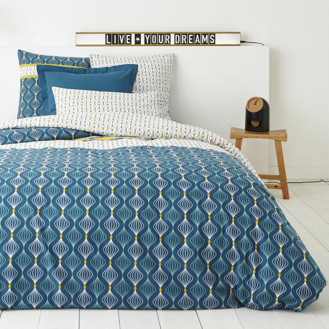 housse de couette 1 ou 2 personnes coton imprim azelma. Black Bedroom Furniture Sets. Home Design Ideas