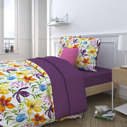 3 SUISSES Collection - Drap plat uni 1 ou 2 personnes percale Agathe - Violet - Drap plat
