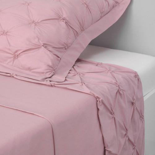 3 SUISSES Collection - Drap poudré smocks polycoton 1 ou 2 personnes Florentine - Rose - Linge de maison