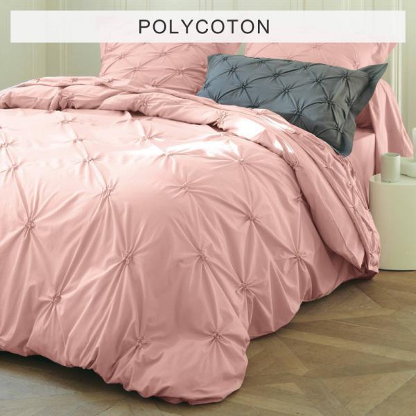 Housse De Couette Polycoton Unie Avec Smocks Florentine Rose Poudre
