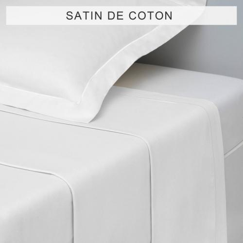 3S. x Collection - Drap uni SATIN DE COTON - Blanc - Drap plat