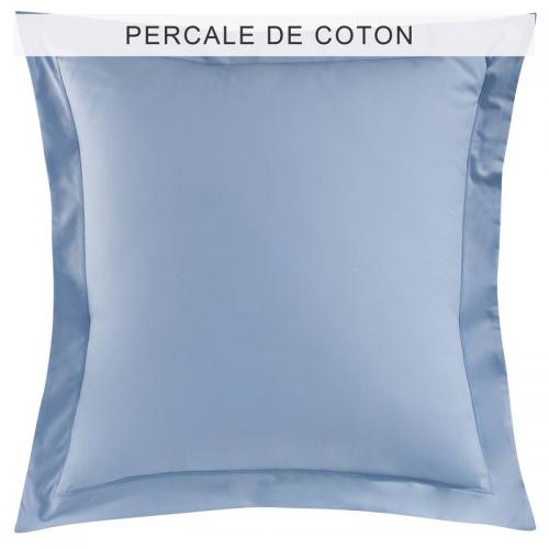 3 SUISSES Collection - Taie d'oreiller ou de traversin coton unie PERCALE - Bleu - Taie d'oreiller, traversin
