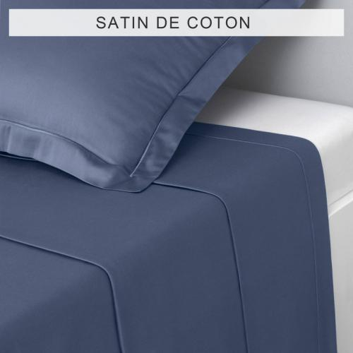 3S. x Collection - Drap uni SATIN DE COTON - Bleu - Drap plat