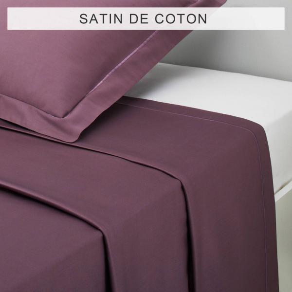 Drap uni SATIN DE COTON - Violet 3 SUISSES Collection Linge de maison