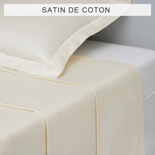 3 SUISSES Collection - Drap uni SATIN DE COTON - ÉCRU - Drap plat Uni