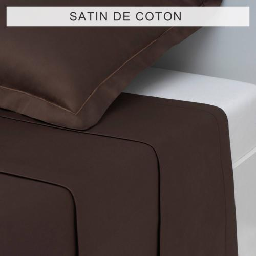 3S. x Collection - Drap uni SATIN DE COTON - Marron - Drap plat