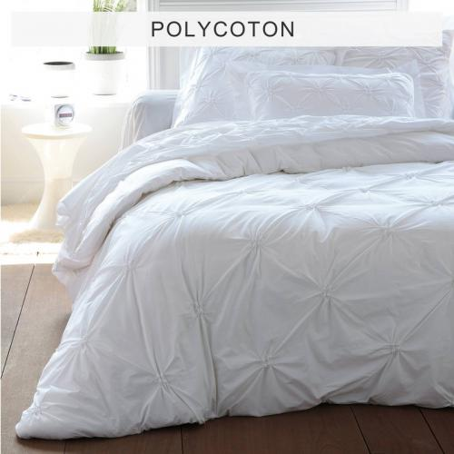 3S. x Collection - Housse de couette polycoton SMOCKS FLORENTINE - blanc - Linge de maison