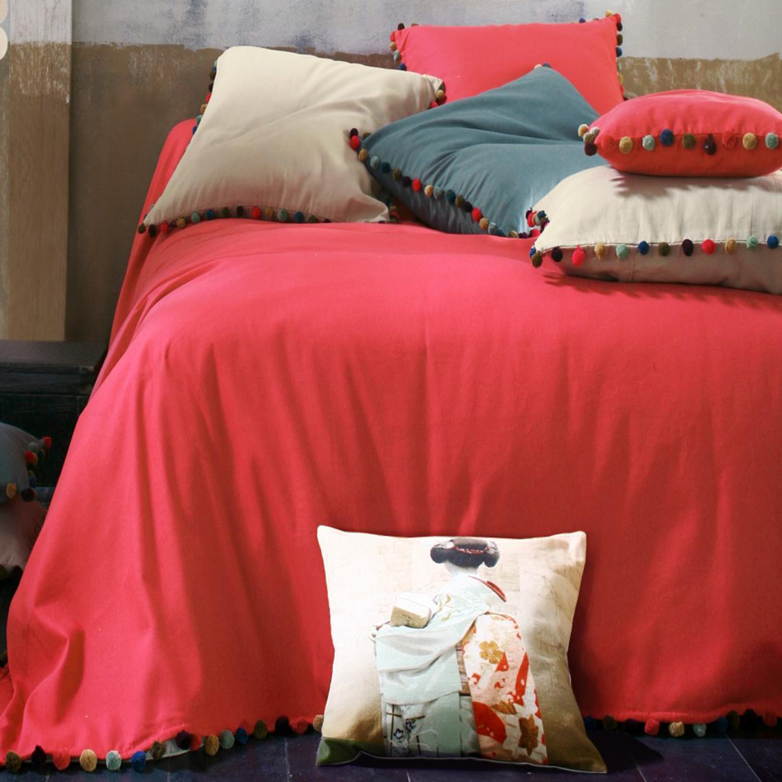 Jeté de lit bâchette coton pompons multicolores   Orange | 3 SUISSES