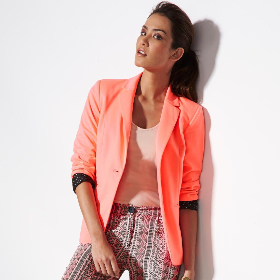 c10a92a25fb4ca Veste tailleur femme à Doublure imprimée fantaisie - rose | 3 SUISSES