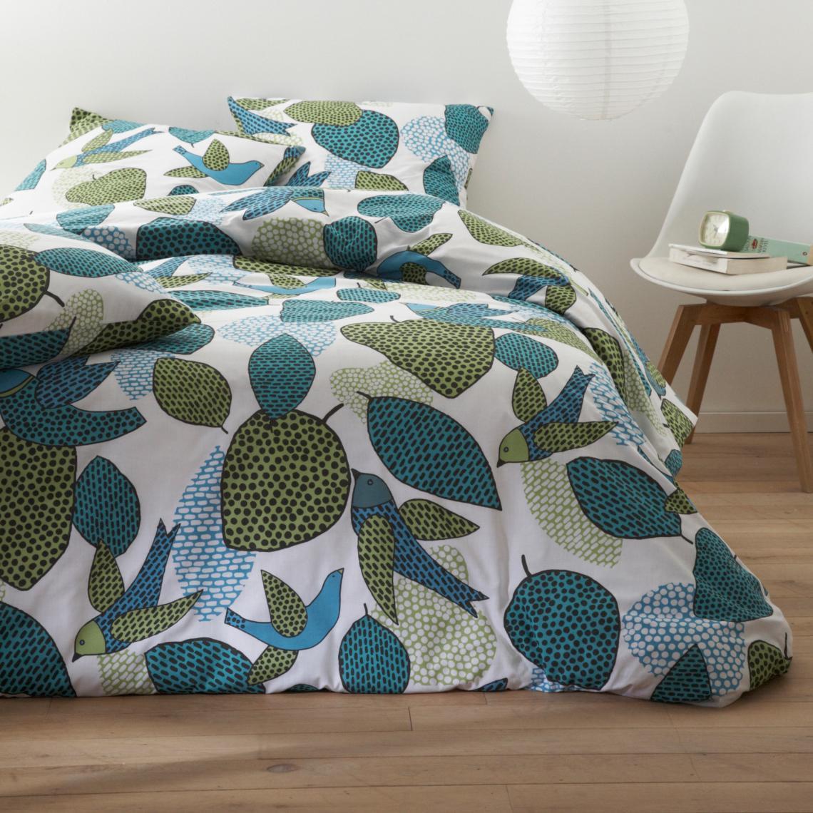 De coton 0,50 x 1,40 oiseau sur Turquoise