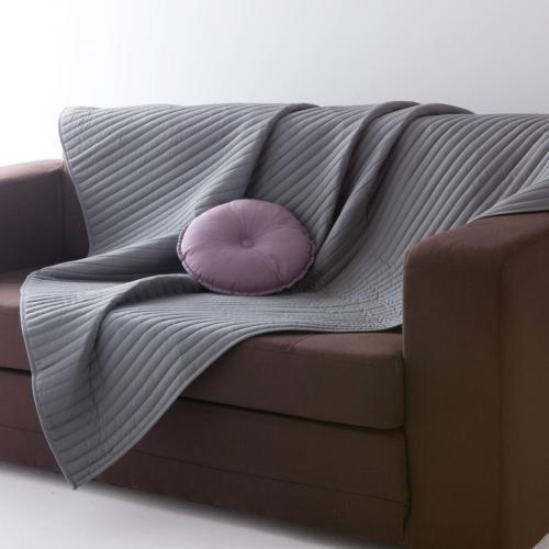 plaid couvre lit ou dessus de lit et jet piquage lignes gris 3 suisses. Black Bedroom Furniture Sets. Home Design Ideas