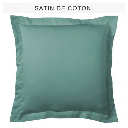 3 SUISSES Collection - Taie d'oreiller ou de traversin uni en satin de coton - Vert de Gris - Taies d'oreillers, traversins
