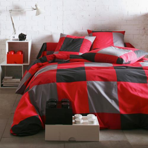 3S. x Collection - Housse de couette coton KUBIKAL - rouge - Linge de maison