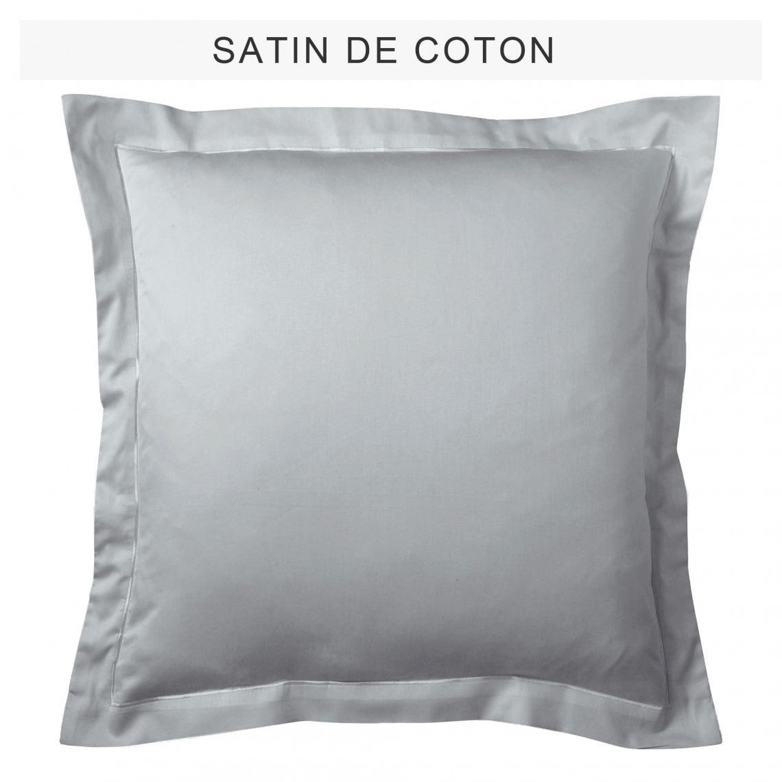 Taie d\'oreiller ou de traversin uni en satin de coton - Galet | 3 ...