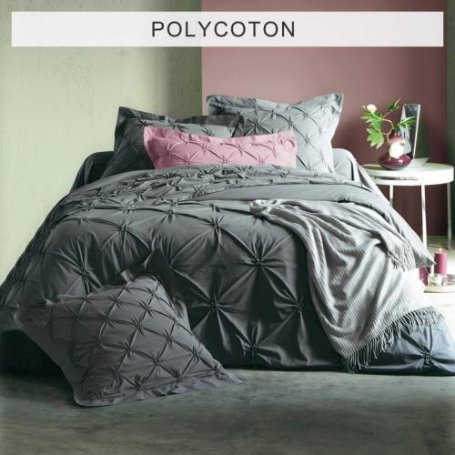 3S. x Collection - Housse de couette polycoton SMOCKS FLORENTINE - anthracite - Linge de maison