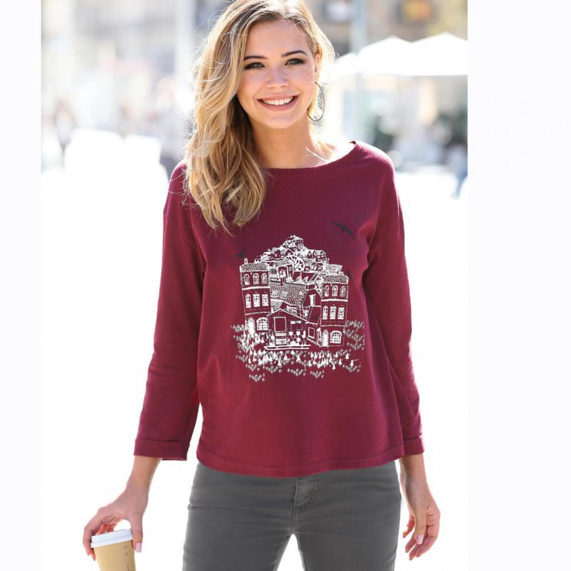 caa82805a46 Tee-shirt manches longues imprimé femme - Rouge 3 SUISSES