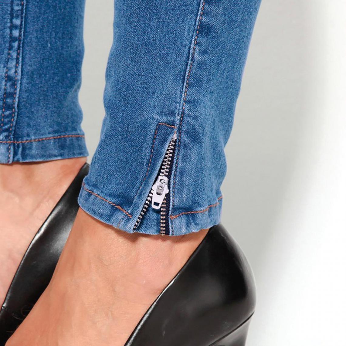 Jean bas zippés femme - Bleu z5DHP