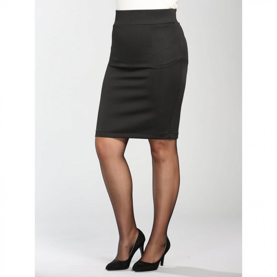 6e629ba357ea7c Jupe droite courte taille élastique femme - Noir | 3 SUISSES