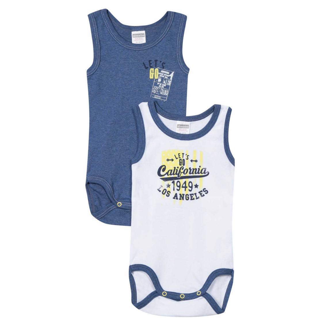 Lot de 2 bodies sans manches bébé garçon Absorba - Blanc - Bleu Absorba  Enfant 7ed889a146b