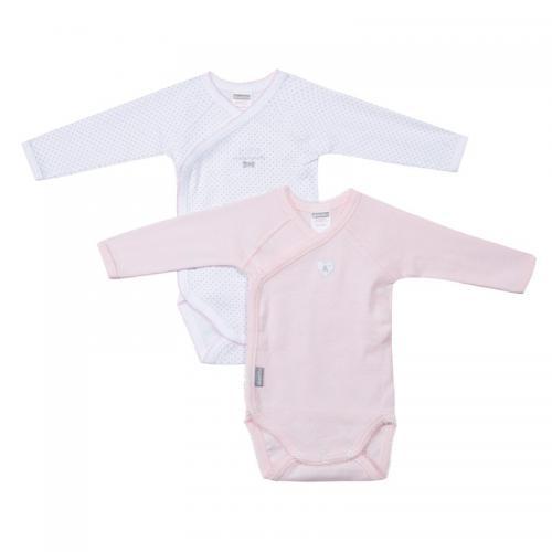 Absorba - Lot de 2 bodies croisés manches longues bébé fille Absorba - Blanc  - Rose. Absorba 5c608e79702