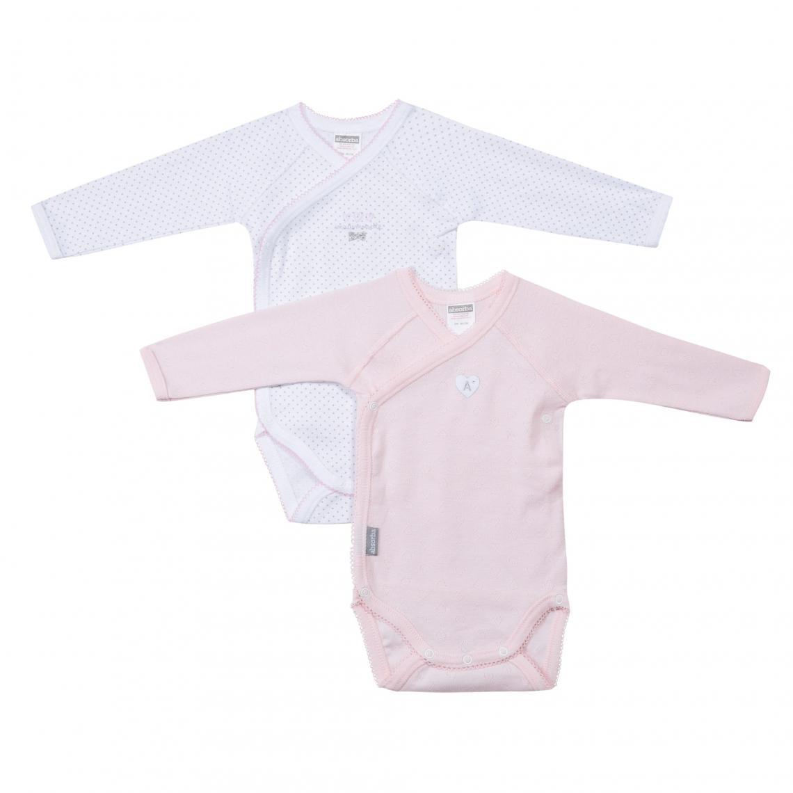 Lot de 2 bodies croisés manches longues bébé fille Absorba - Blanc - Rose Absorba  Enfant ca91b64780d