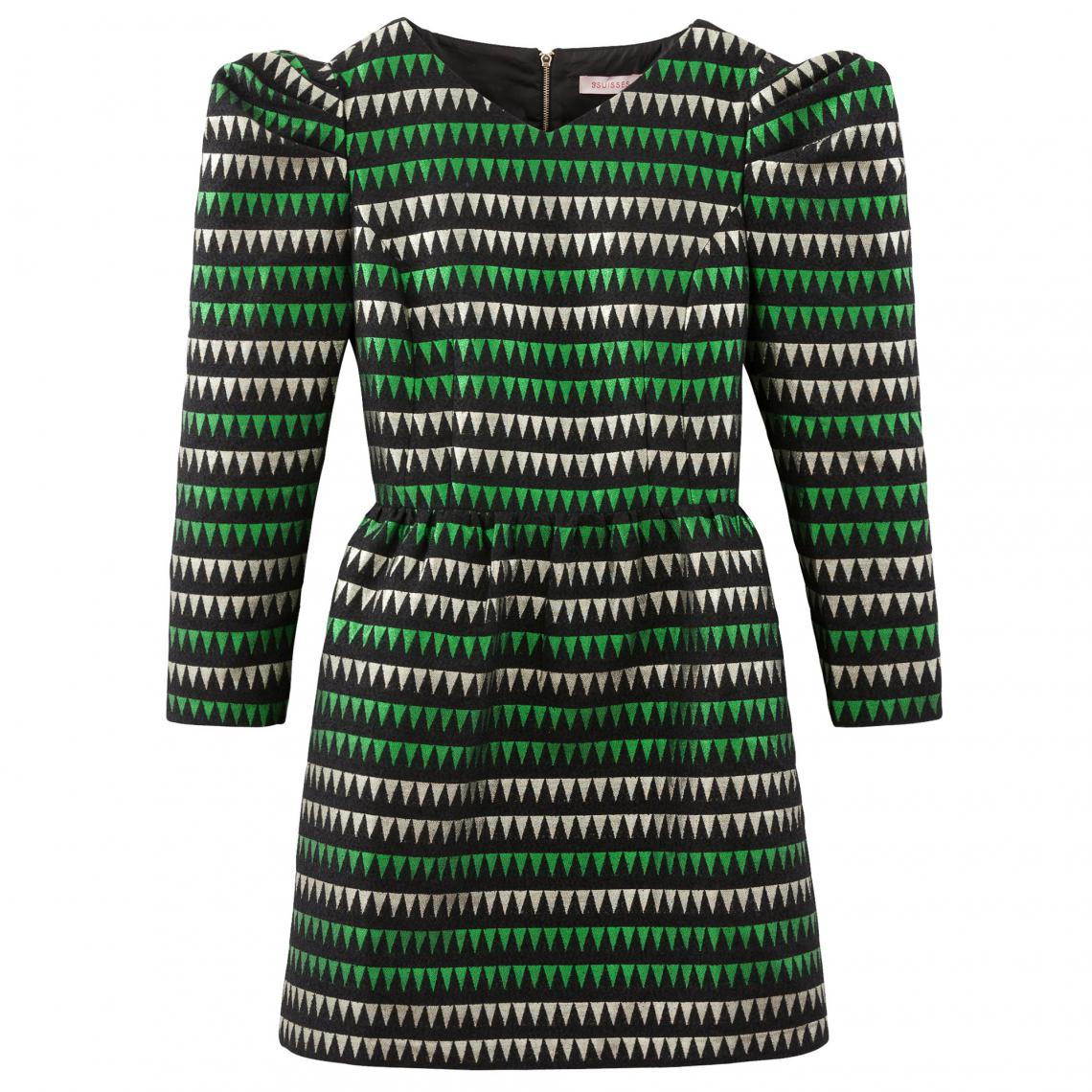 b2ab52cc961 Robe courte manches bouffantes à jacquard métallisé bicolore femme - Multicolore  Actuamode