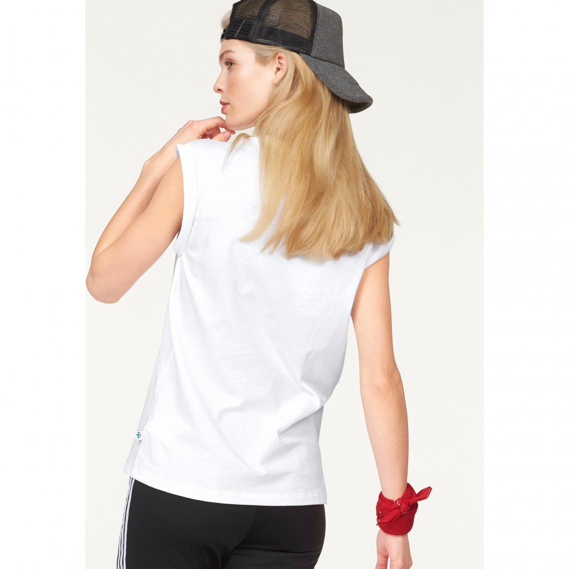 Tee-shirt femme Bf Trefoil Roll up Tee adidas Originals - Blanc  51b010497f6