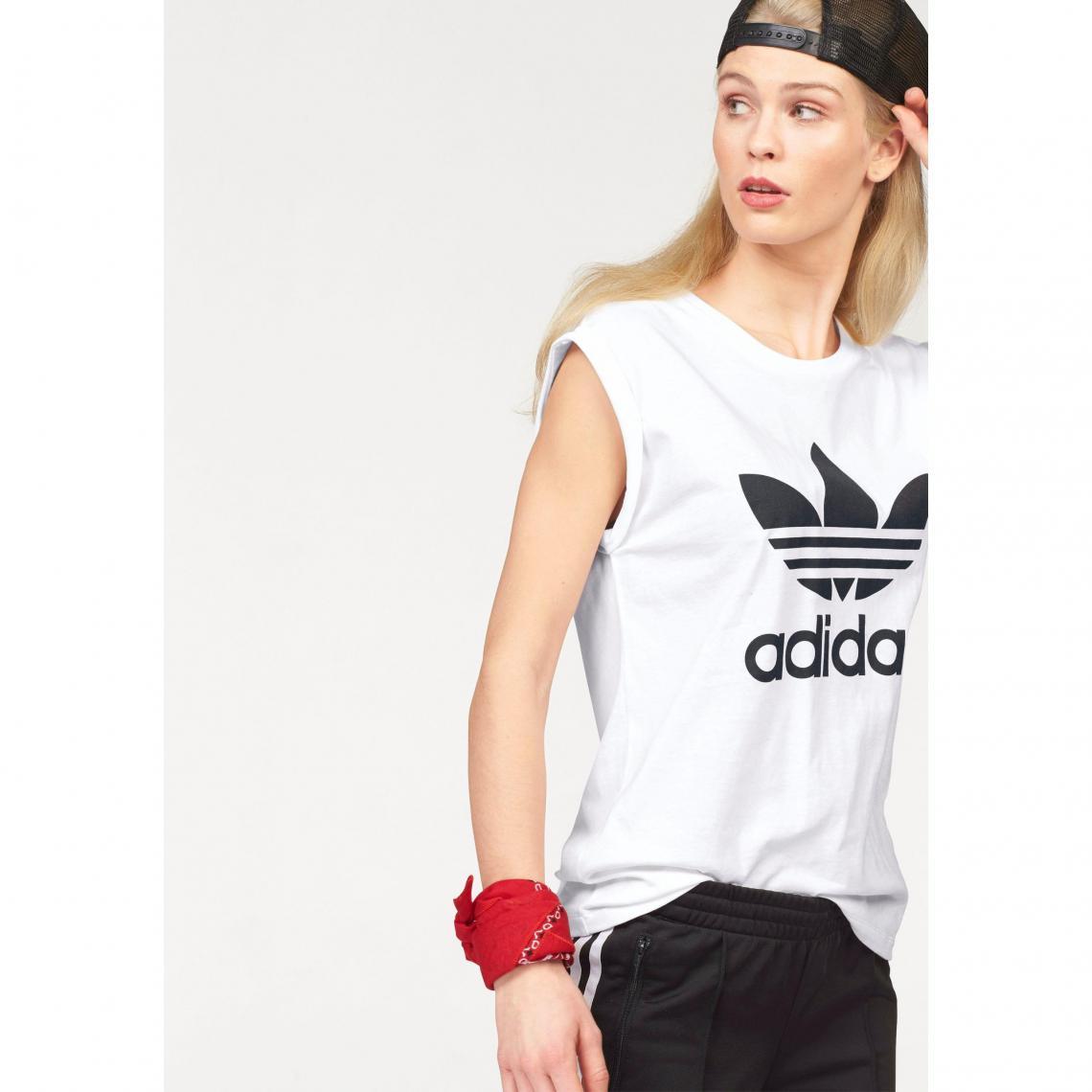 Tee-shirt femme Bf Trefoil Roll up Tee adidas Originals - Blanc Adidas  Originals Femme f6f9df15ba9