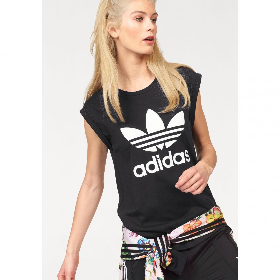 Tee-shirt femme Bf Trefoil Roll up Tee adidas Originals - Noir Adidas  Originals Femme 2d06b1b80f9
