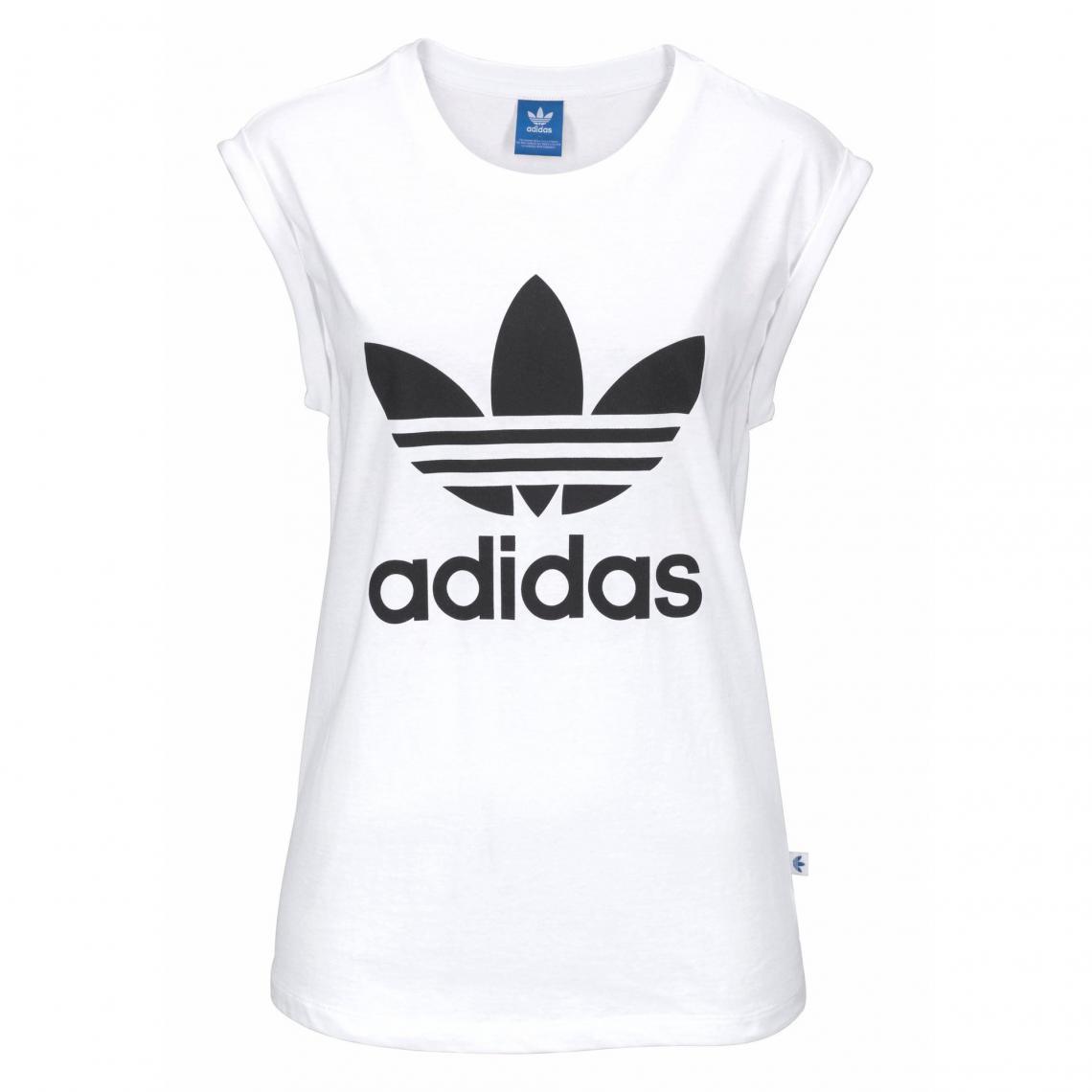 Tee-shirt femme Bf Trefoil Roll up Tee adidas Originals - Blanc Adidas  Originals 56a953a114c