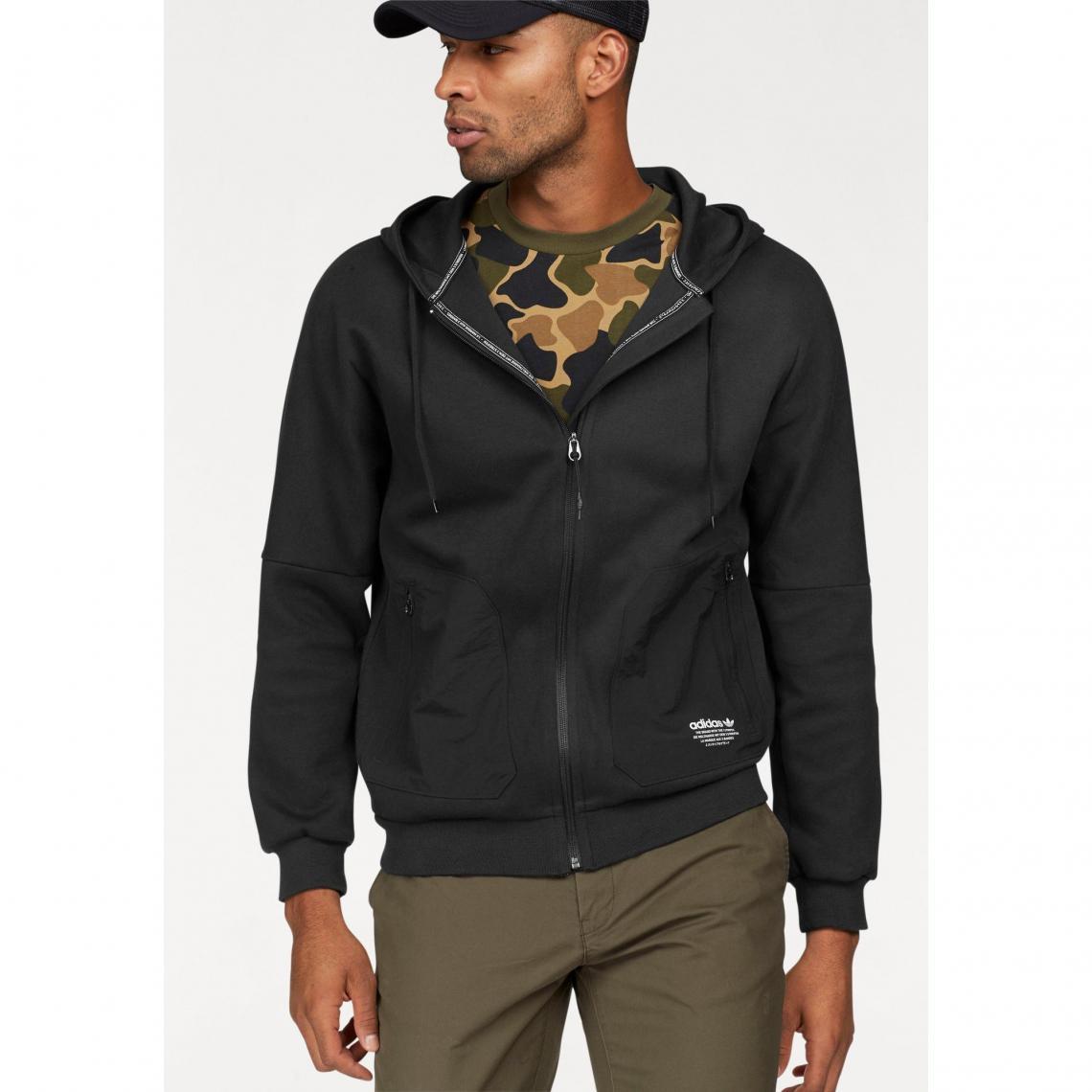 Sweat zippé manches longues à capuche homme NMD adidas Originals - Noir  Adidas Originals Homme bd680ac4b93f