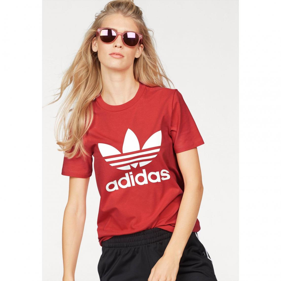 new arrivals 4cf38 28b74 Tee-shirt femme TREFOIL adidas Originals - Orange Adidas Originals Femme