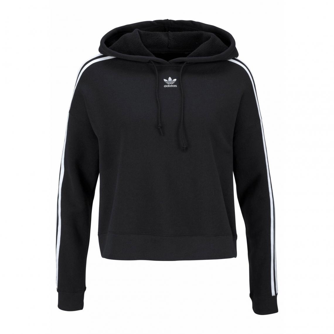 f1b83a9e641f7 Sweat à capuche cropped manches longues femme adidas Originals - Noir Adidas  Originals
