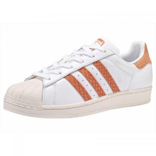 Adidas Originals - SUPER STAR W Q2 adidas Originals pour femme - Blanc -  Orange - 45e48ad752ec