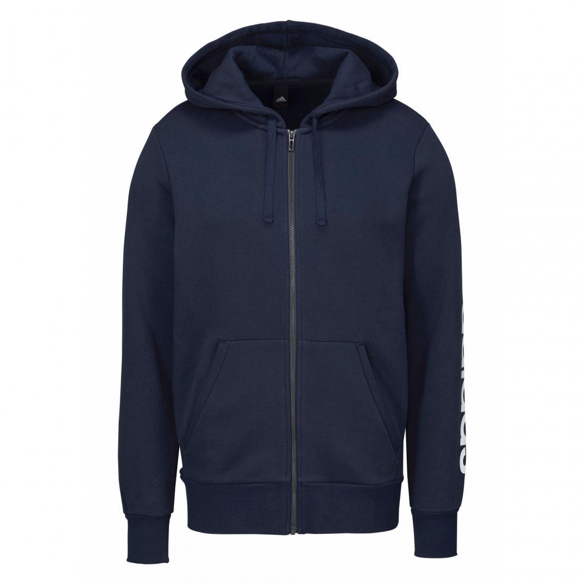 Veste de sport à capuche Essentials Linear Full zip Hood Fleece homme adidas Performance Marine Plus de détails