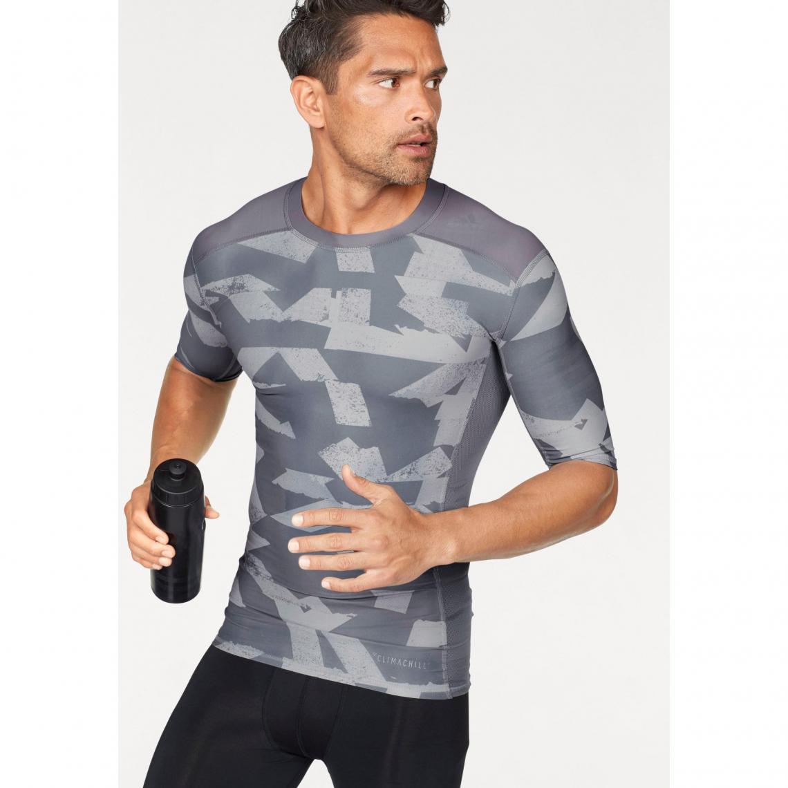 5025dda63ca T-shirt manches coudes adidas Performance Techfit Climalite® pour homme -  Gris Adidas Performance