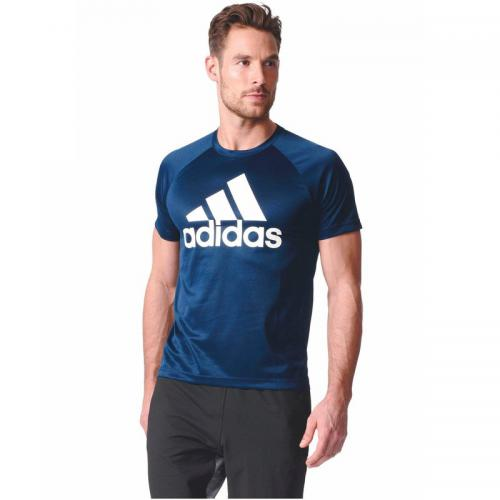 Adidas Performance - Tee-shirt respirant manches courtes D2M Tee Logo homme adidas Performance - Marine - T shirts imprimés homme