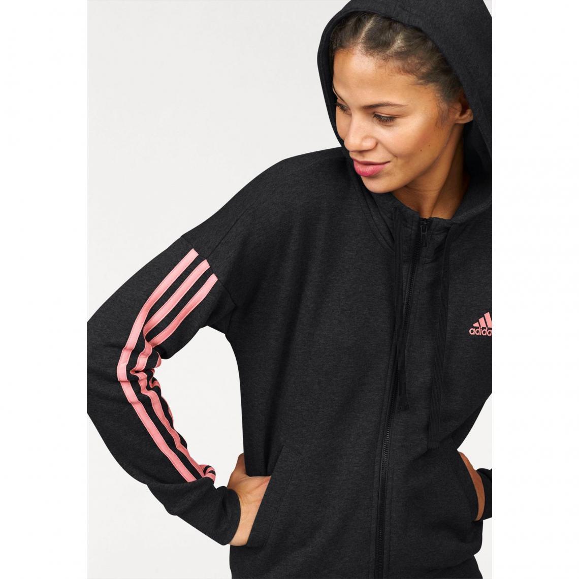d0608839677e9 Sweat-shirt capuche femme Essentials 3 Stripes Fullzip Hoodie adidas  Performance - Noir Adidas Performance
