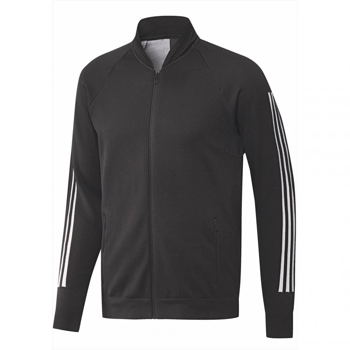 e59f9281ec0 Veste de survêtement zippée homme ID Knit Bomber adidas Performance - Noir  - Blanc Adidas Performance
