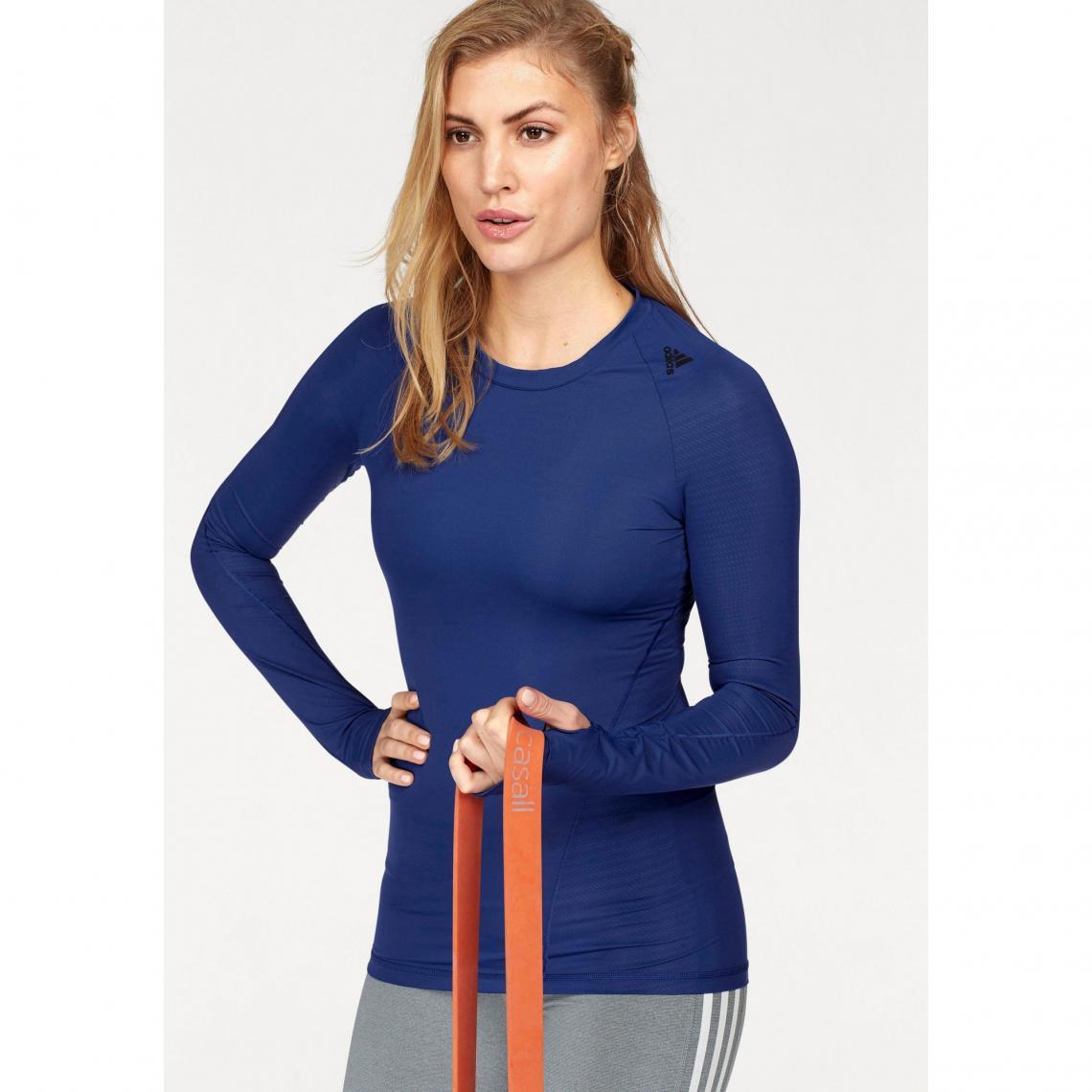 Tee shirt de sport manches longues femme ALPHASKIN TEC adidas Performance® Bleu Plus de détails