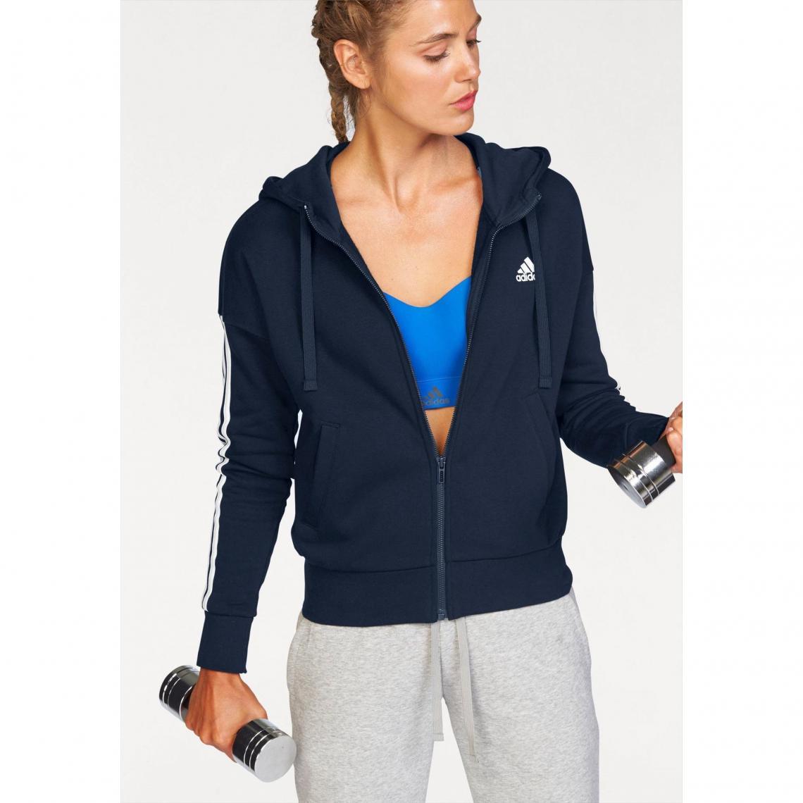 8203536b6253 Sweat-shirt capuche femme Essentials 3 Stripes Fullzip Hoodie adidas  Performance - Bleu Adidas Performance
