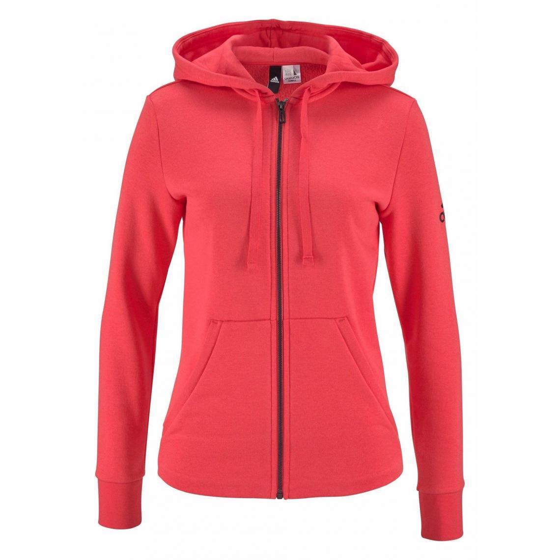 Sweat zippé manches longues à capuche femme Essentials Solid adidas Performance Rouge