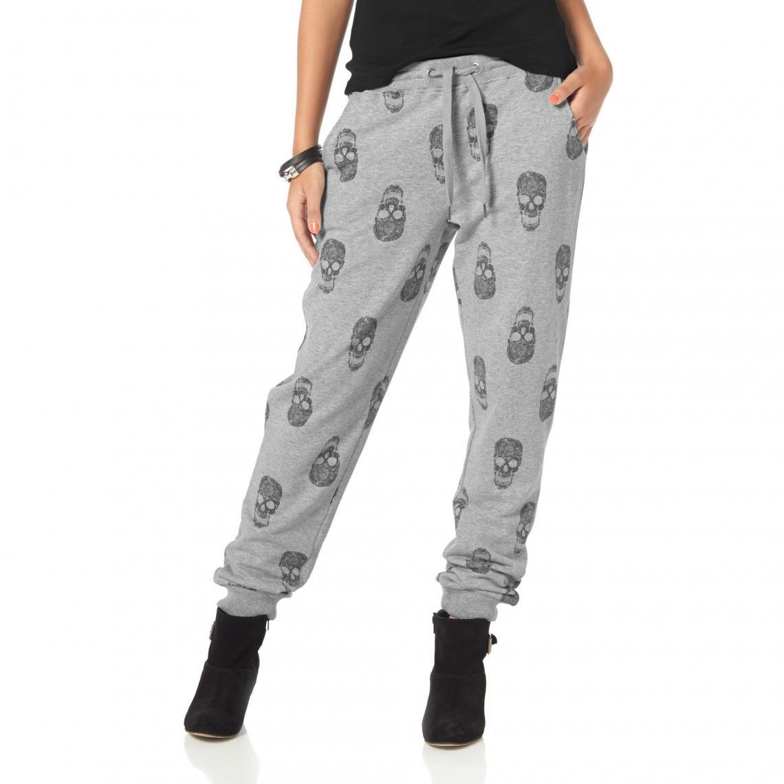 8fa6dcaa240 Pantalon jogging femme en molleton imprimé têtes de mort AJC - Gris AJC  Femme