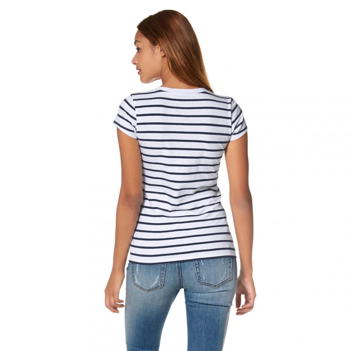 b3c0bd4305a8a T-shirt rayé manches courtes marinière femme AJC - Bleu | 3 SUISSES