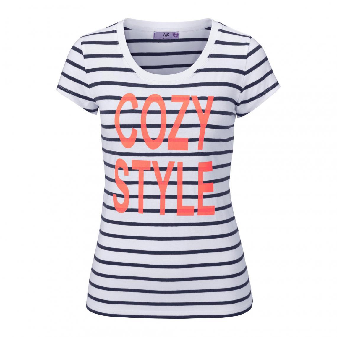 T-shirt rayé manches courtes marinière femme AJC - Bleu AJC 38711f5ea9c
