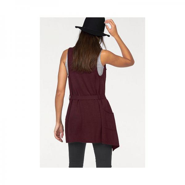 769e75e581297 Gilets longs femme AJC Cliquez l image pour l agrandir. Gilet long sans  manches avec ceinture femme AJC - Bordeaux AJC