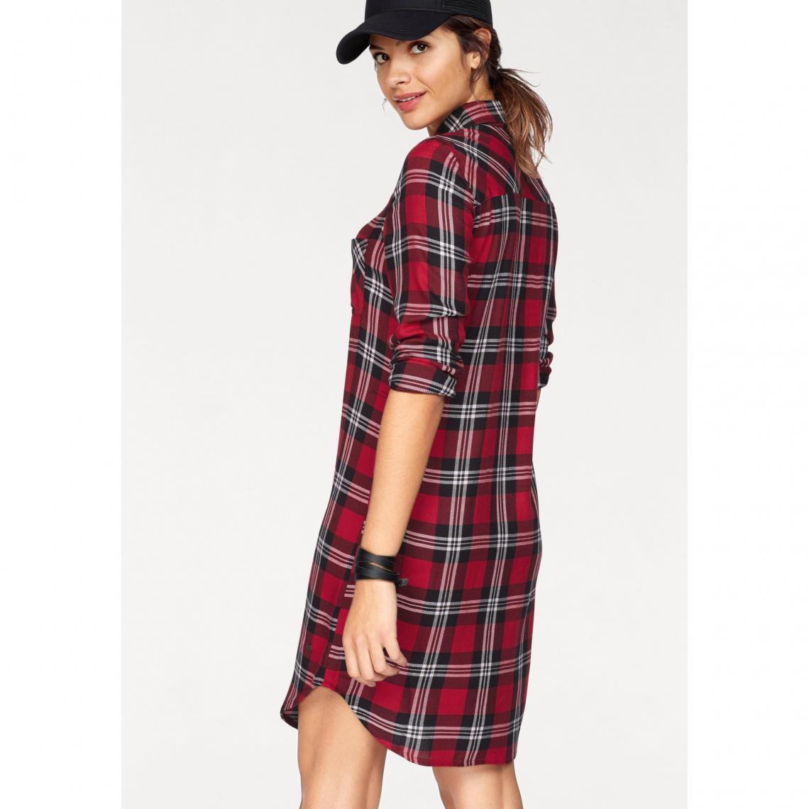 Chemise longue à carreaux manches longues femme AJC - Carreaux Rouge ... d3693c51108