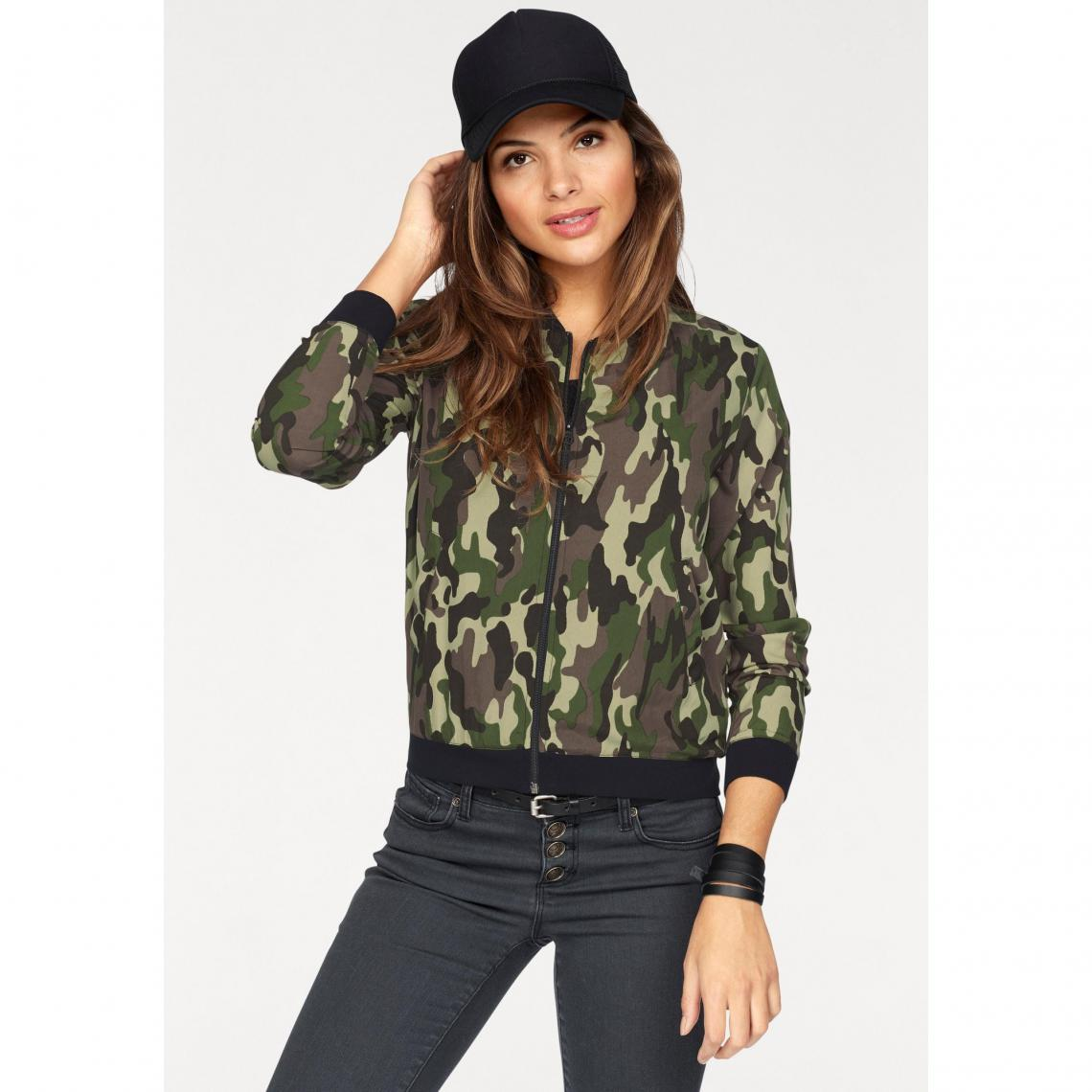 Blouson Camouflage Zippé Imprimé Ajc Kaki Style Femme Bomber K1lJ3TFc