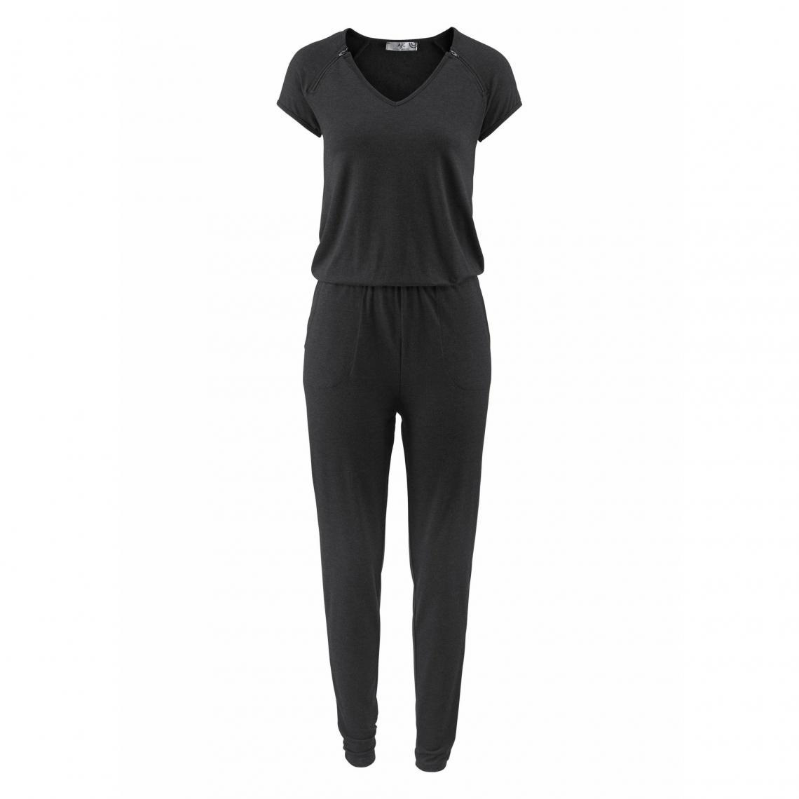 93b394d65a Combi-pantalon col V zips déco femme AJC - Gris Anthracite Chiné | 3 ...